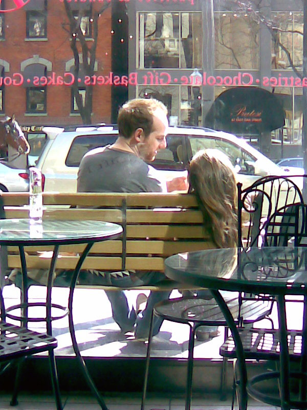 Lovers in front of Sarah's on one spring day, © 2012 Celia Her City
