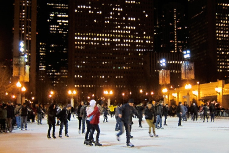 Ice skaters, Millennium Park, Chicago (Credit: Celia Her City)