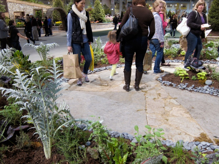 Edible plants line a meditation circle, Chicago Flower and Garden Show, © 2013 Celia Her City