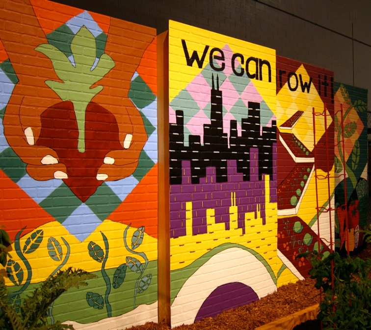 We Can Grow It: A Mural created for the Peterson Garden Project by students at the Senn High School, © 2013 Celia Her City