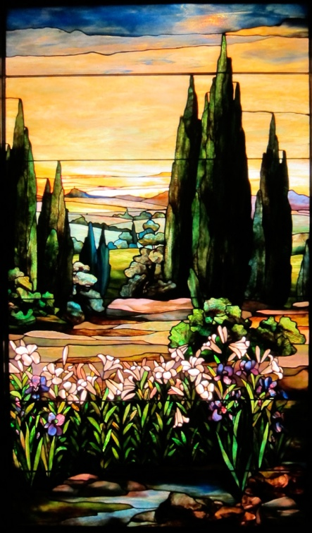 "Tiffany window, ""Lilies of the Field,"" Smith Stained Glass Museum at Navy Pier, © 2013 Celia Her City"