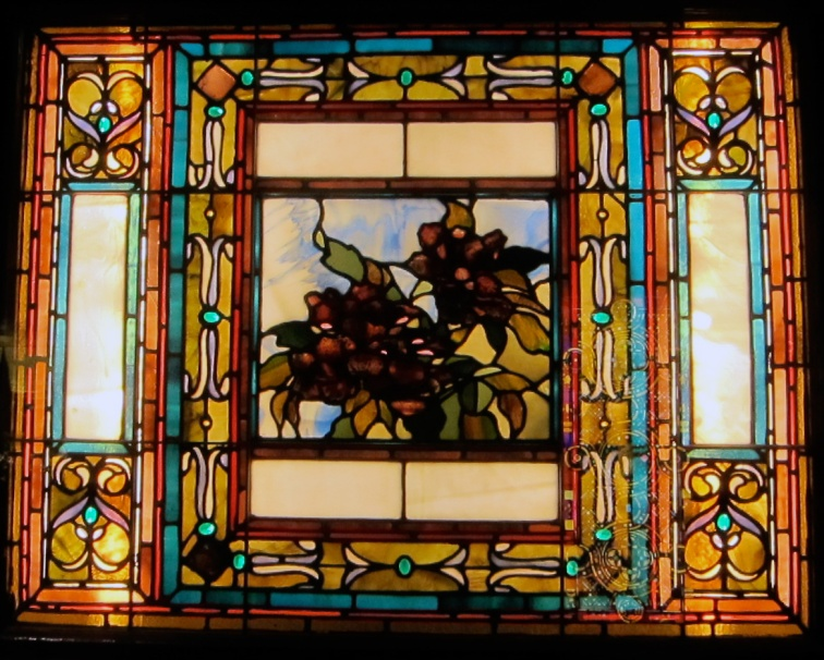 An arts-and-crafts style window in the Smith Museum of Stained Glass, Chicago, © 2013 Celia Her City
