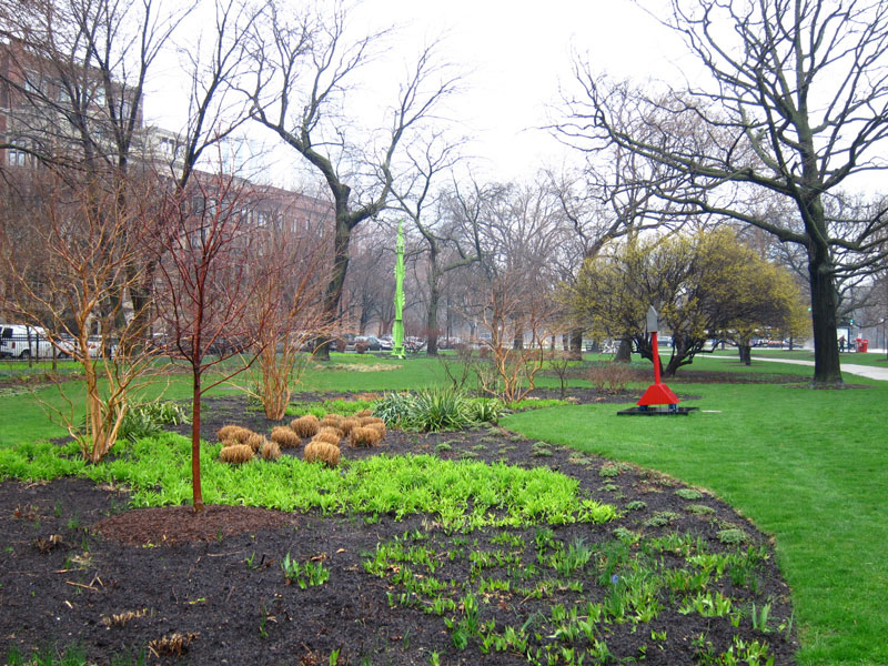 'Fern Temple VI' by Austin Collins and 'Ruby Rollins Roving House' by Verina Baxter in Chicago's Lincoln Park