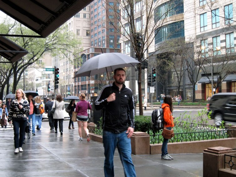 Man with umbrella, Chicago, © 2013 Celia Her City