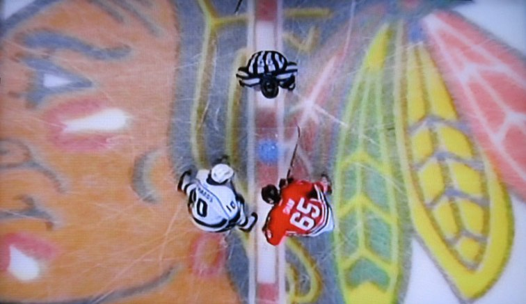 Overhead shot from Game 5 of the series between the Blackhawks and Kings (Screen shot from Channel 7 coverage)