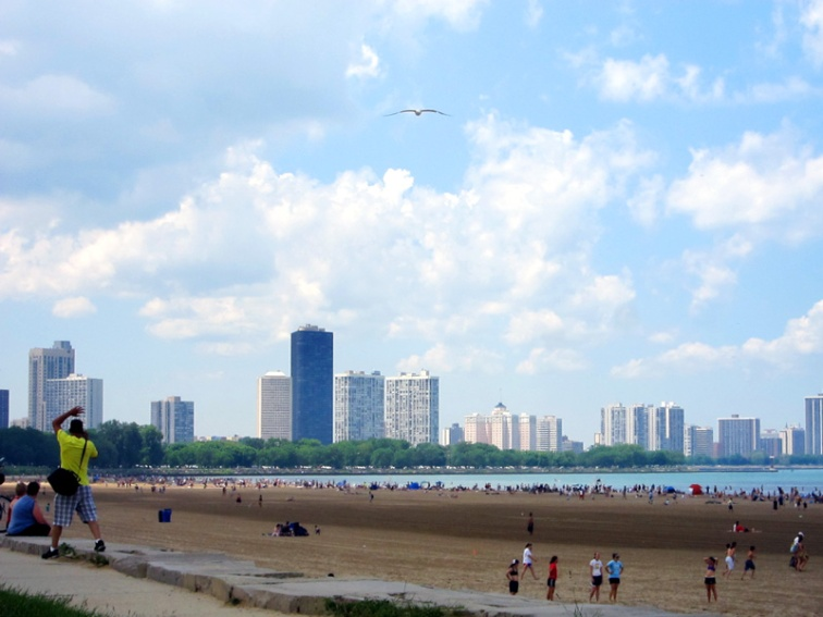 The scene at the beach, Father's Day, Chicago © 2013 Celia Her City